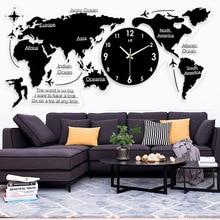 Nordic minimalist wall clock Acrylic creative world map sticker Home living room Silent DIY black