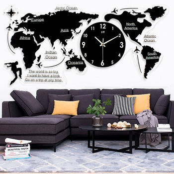 Nordic minimalist wall clock Acrylic creative world map wall sticker Home living room Silent clock creative DIY black sticker