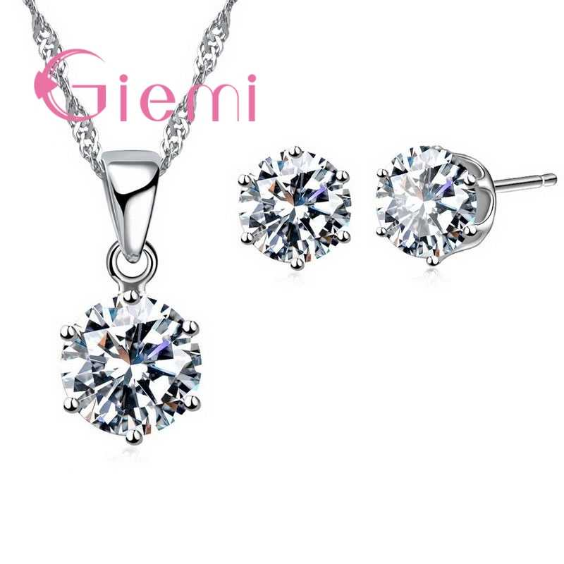 Colorful Cubic Zirconia Shiny Crystal Jewelry Sets Women Girls Pretty Present 925 Sterling Silver Necklace Stud Earrings