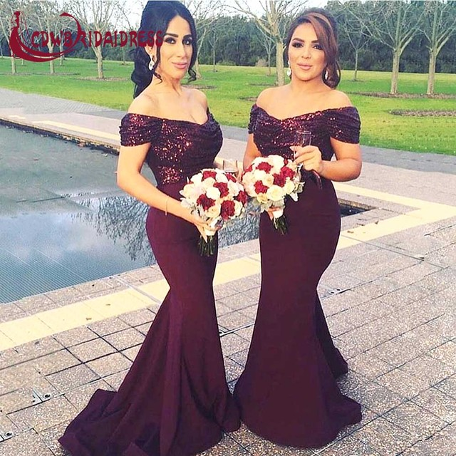 c2643fed Sexy Burgundy Satin Bridesmaid Dresses With Pleat Sequins Top Mermaid  Weddings Party Dress V-Neck Off Shoulder Forml Prom Gowns