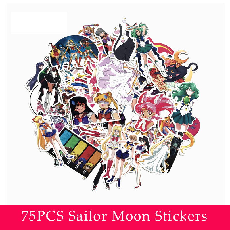 75Pcs Waterproof Sailor Moon Stickers Decal For For Snowboard Laptop Luggage Car Fridge Car- Styling Sticker Pegatina