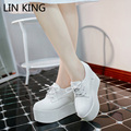 LIN KING Women Casual Shoes Solid Lace-up Platform Height Increasing Low Top Round Toe High Heels Flock Breathable Shoes