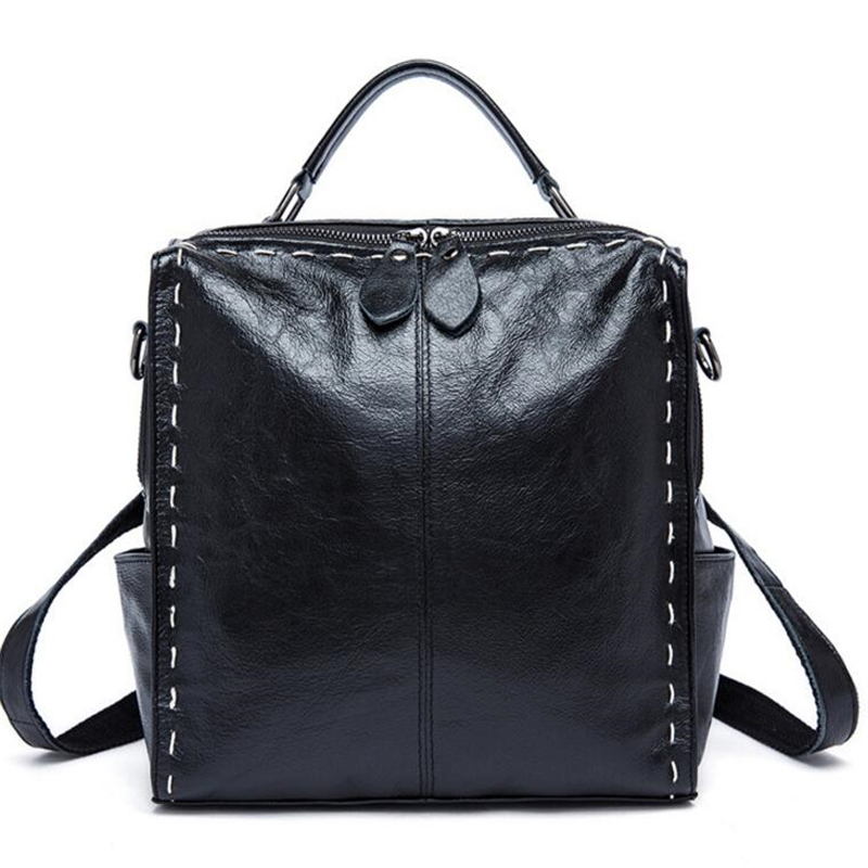 High Quality First Layer Cow Leather Women Double Shoulder Bags Punk Vintage Personality Multifunction Travel Women Backpack 2017 new style genuine leather women bags punk women double shoulder bags black cow leather casual travel backpack