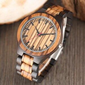 Image 2 - עץ שעונים 2018 גברים פס דפוס מנומר במבוק רצועת קוורץ שעון טבע עץ Creative ספורט אופנה שעון עבור זכר מתנות