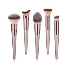 1Piece Large Foundation Makeup Brushes Coffee Wood Handle Very Soft Hair Blush Powder Make Up Brush Face Beauty Cosmetic Tools handmade makeup brushes set 6pcs soft goat hair make up face powder blush eye shadow brush pink handle cosmetic tools