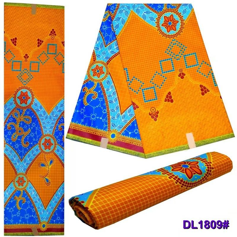 6 Yards pc Charming orange and blue printed pattern batik wax african cotton fabric for clothes