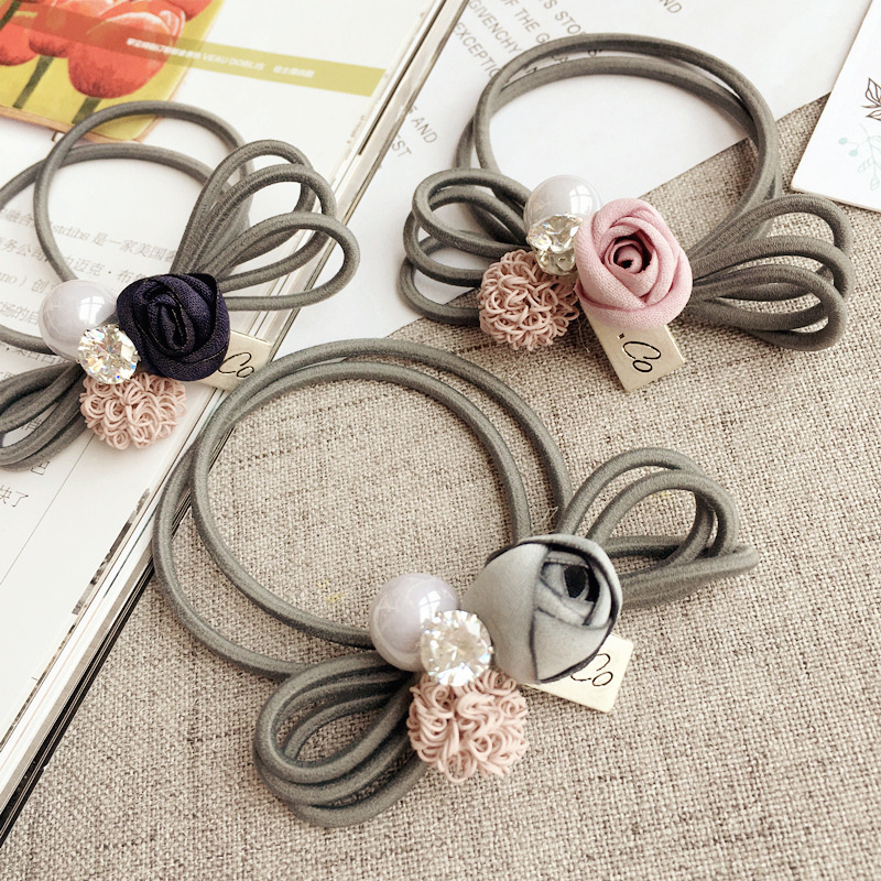 Korea Camellia Pearl Flower rystal Hair Accessories Hair Bows Elastic Hair Bands Rubber Band Hair Ring Headbands For Women metting joura vintage bohemian green mixed color flower satin cross ethnic fabric elastic turban headband hair accessories