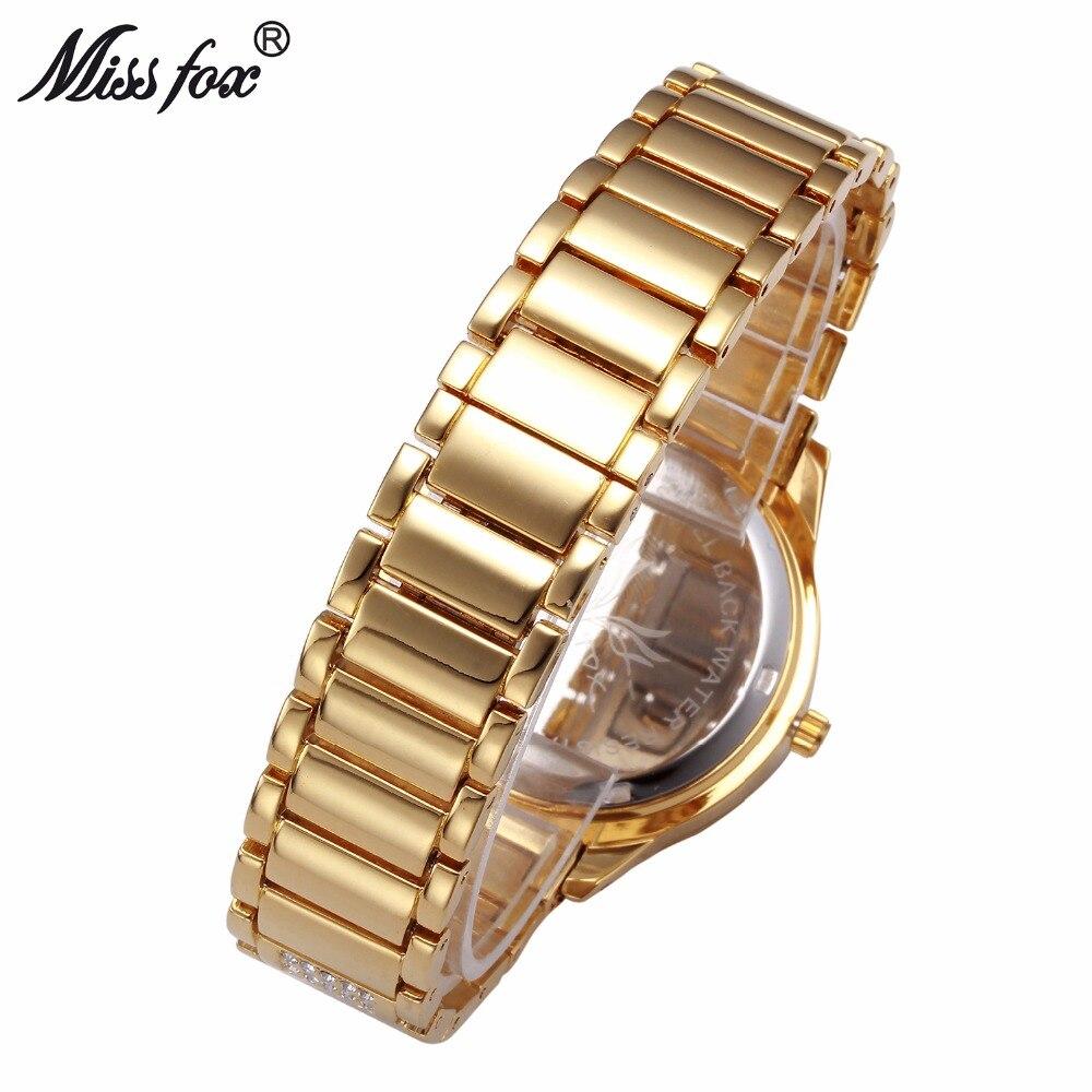 MISSFOX Ladies Gold Party Watches Women Diamond Fashion China Watches Luxury Brand Golden Clock For Ar Female Quartz Wristwatch 3