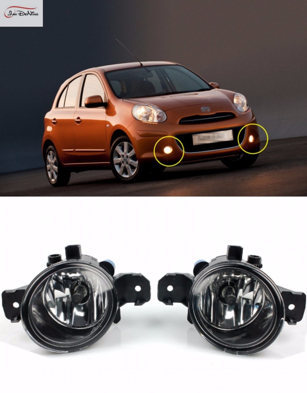 JanDeNing Car Fog Lights For Nissan Micra / March 2005~2010 Clear Front Fog Lamp Light Replace Assembly kit (one Pair) car fog lights lamp for mitsubishi triton 2 door 2009 on clear lens pair set wiring kit fog light set free shipping