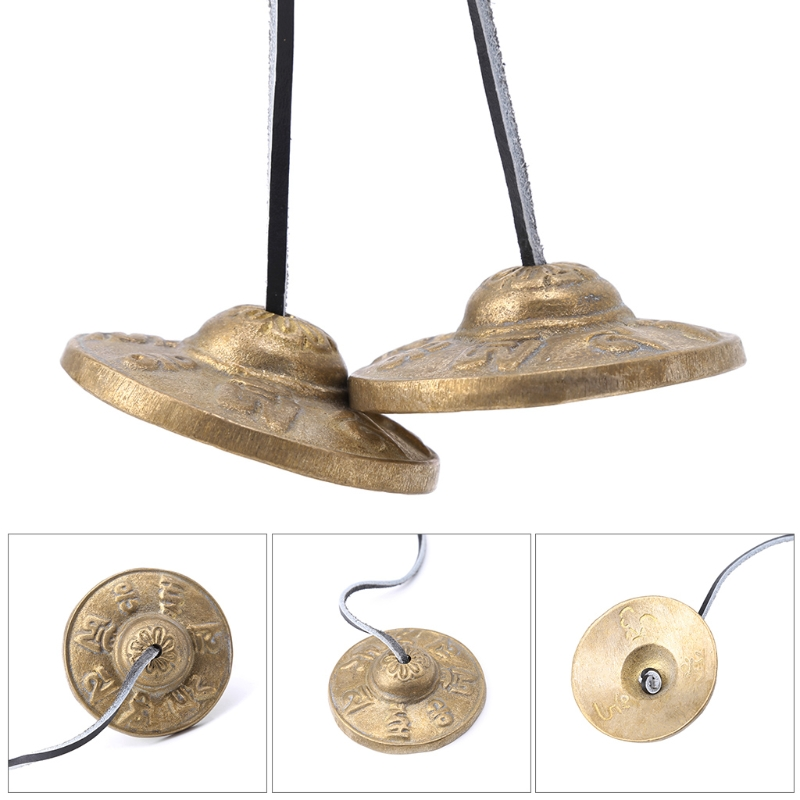 Handcrafted Tibetan Meditation Tingsha Cymbal Bell With Buddhist Lucky Symbols