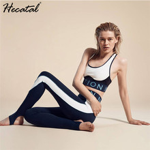 Women Yoga Set Letters Fitness Running Gym Sports Bras & Leggings Patchwork Suits Quick Dry Womens Tracksuit