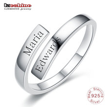 LZESHINE Customize Engraved Name Couple Ring 100% 925 Sterling Silver Open Finger Ring For Lovers Anniversary Jewelry Gift недорого