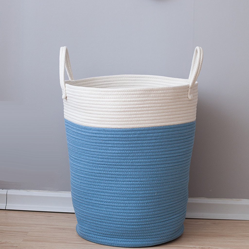 2pcs Cotton Weaving Storage Basket Baby Laundry Basket Woven Baskets with Handle for Diaper Toys Kid\'s Room Decor Blue