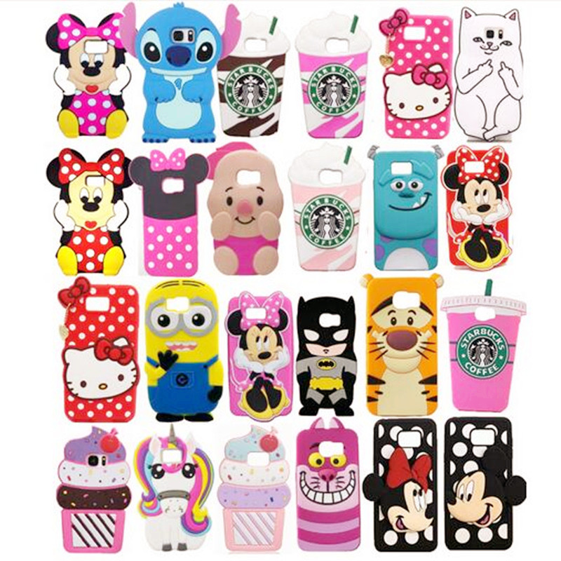 3D Cartoon Characters pig cat Minnie Mouse Animals Design Soft Silicone Case Cover for Samsung Galaxy S7 G930 G9300 Cases Capa