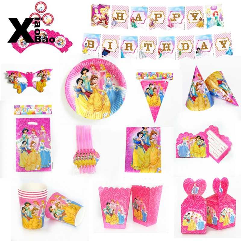 Księżniczka motyw naczynia papierowe płyta kubek Banner okulary zaproszenie obrus Topper balon torba Favor Kid Party urodziny prezent