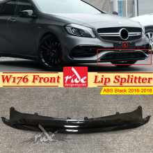 W176 Front Bumper Lip Splitter ABS black Fits For Mercedes-Benz A-Class A180 A200 A250 A45 Look 2016-2018