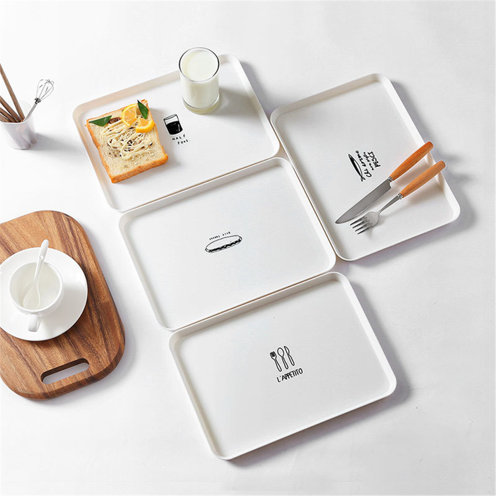 Chic Breakfast Bread Plastic PP Tray Dessert Dish Plate Plates Untensil Tools Tableware Trays White Simple Decoration Gift 1PCS