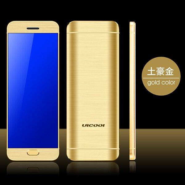 Ультратонкая Кредитная карта Ulcool V26, мобильный телефон, сенсорный дисплей, металлический корпус, Bluetooth 2,0, номеронабор, Mp3, FM, две sim-карты, мини мобильный телефон P001 - Цвет: Gold