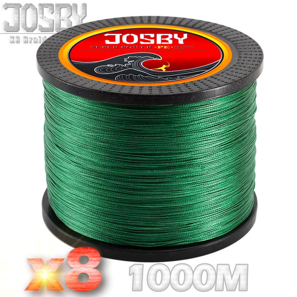 JOSBY Brand 1000m 8 Strands Multicolour PE Braided Wire X8 Multifilament Fishing Line Fishing Tackle 6Color 15LBS-80LBS 2018 New