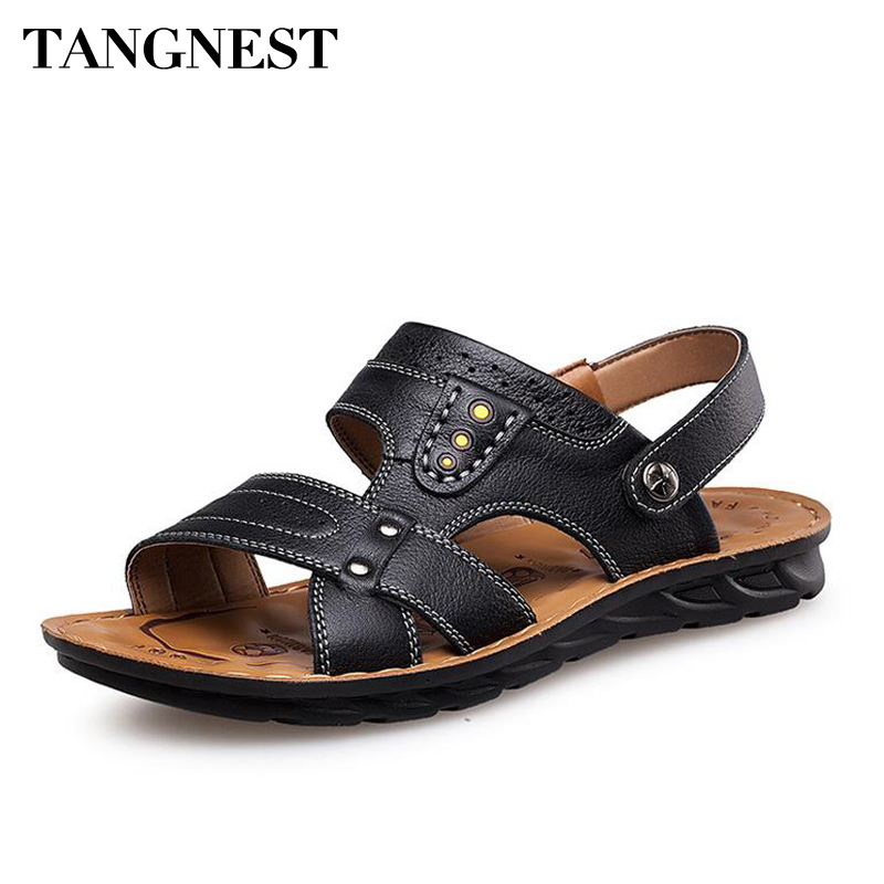 Tangnest 2017 Summer Man Casual Sandals Fashion Leather Slip-On Solid Man Breathable Open Toe Flats Male Leisure Shoes XML225