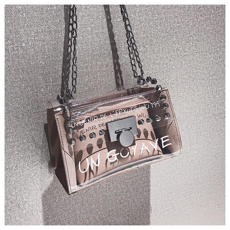 18 Summer Fashion New Handbag High quality PVC Transparent Women bag Sweet Printed Letter Square Phone bag Chain Shoulder bag 20