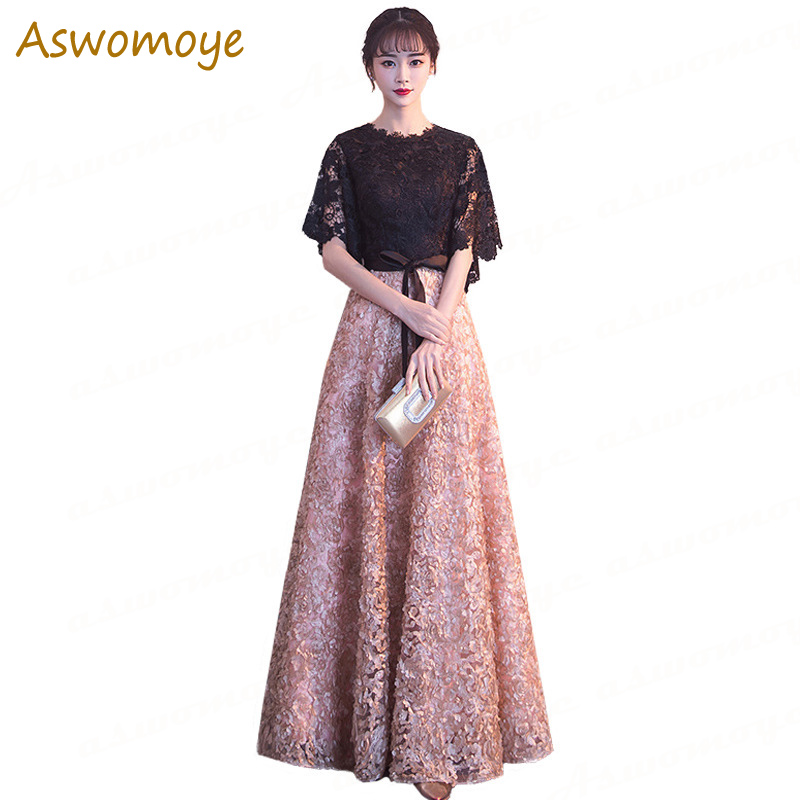 Long Evening Dress Half Sleeve O-neck A Line Lace Prom Party Dresses 2019 Spring New Stylish Women Banquet Dress Haute Couture