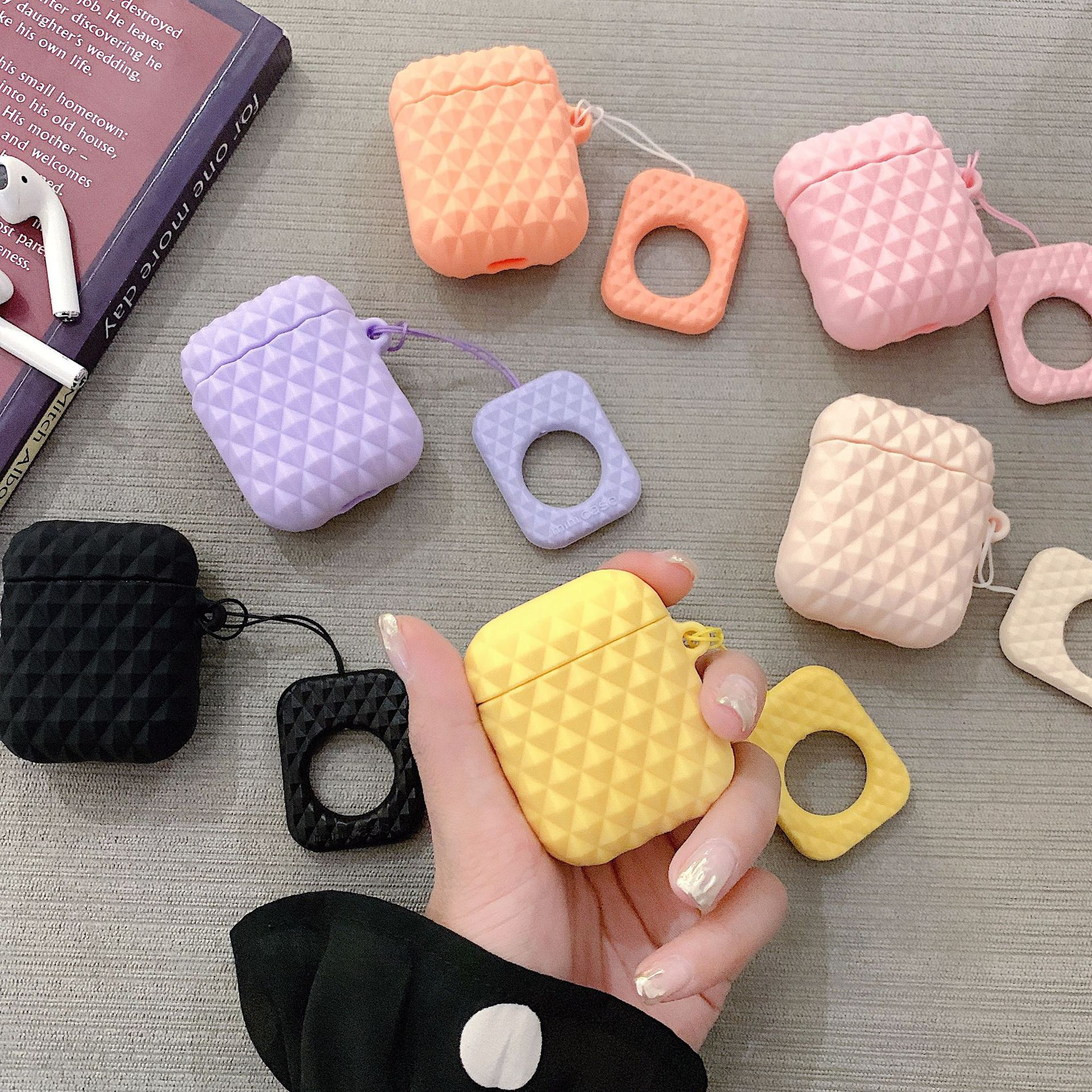 For <font><b>AirPods</b></font> <font><b>Case</b></font> <font><b>Silicone</b></font> Diamond Bag Earphone <font><b>Case</b></font> For <font><b>Airpods</b></font> 2 TWS Headphone <font><b>Case</b></font> for <font><b>Apple</b></font> Air pods Cover Earpods Ring Strap image