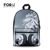 FORUDESIGNS Women Backpack DJ Music Printing Backpacks for Teenager Girls, Record Player Design School Bag for Boys Schoolbag