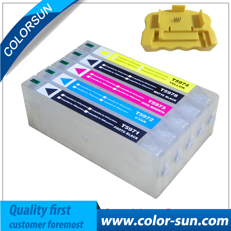New T5971-T5974 T5978 Empty Refillable Ink Cartridge For Epson Stylus 7700 9700 7710 9710 with ARC chips with One Resetter