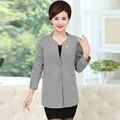 XL 4XL O cuello de las mujeres blazers y chaquetas más tamaño de otoño invierno de algodón de Un Solo pecho bolsillos blazer femenino largo manga