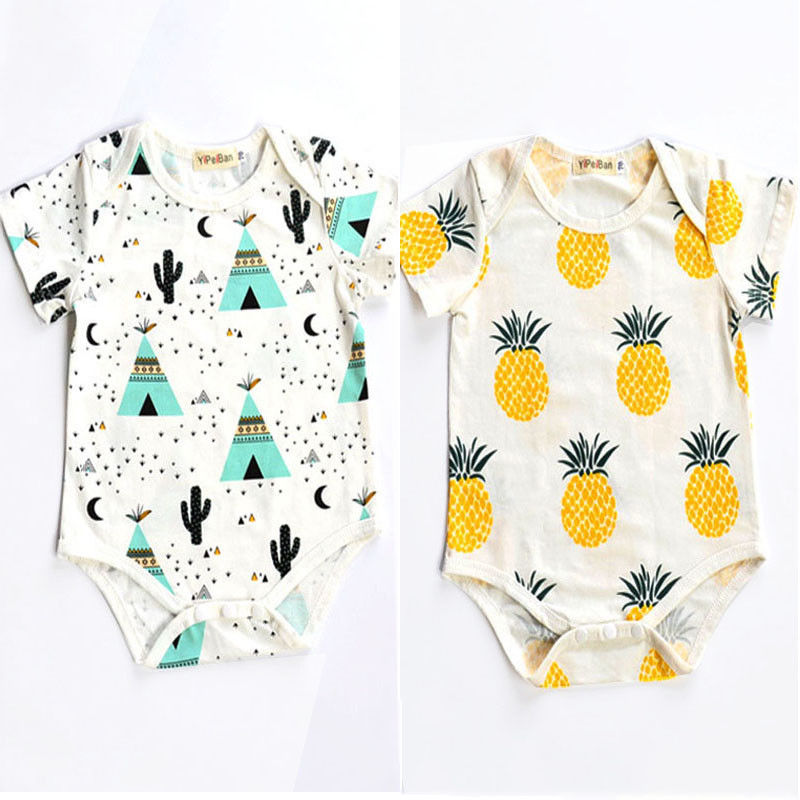 Summer Newborn Romper Kids Baby Girl Boy Clothes short sleeve pineapple tent Romper Jumpsuit Outfits 0-24M ...