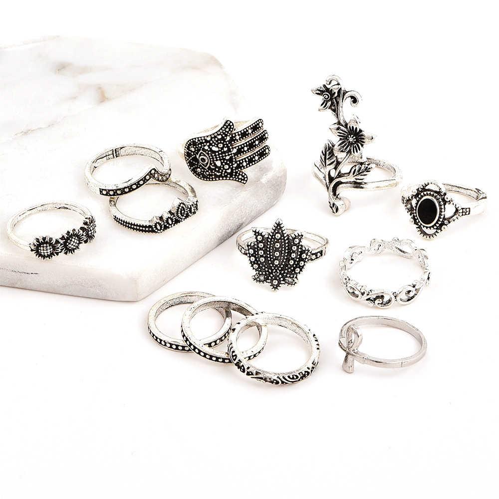 12 יח'\סט בוהמי לוטוס עלה צלב גלים פטימה עין פנינה כסף משותף טבעת סט נשים קסם מסיבת שמלת קישוט מתנה