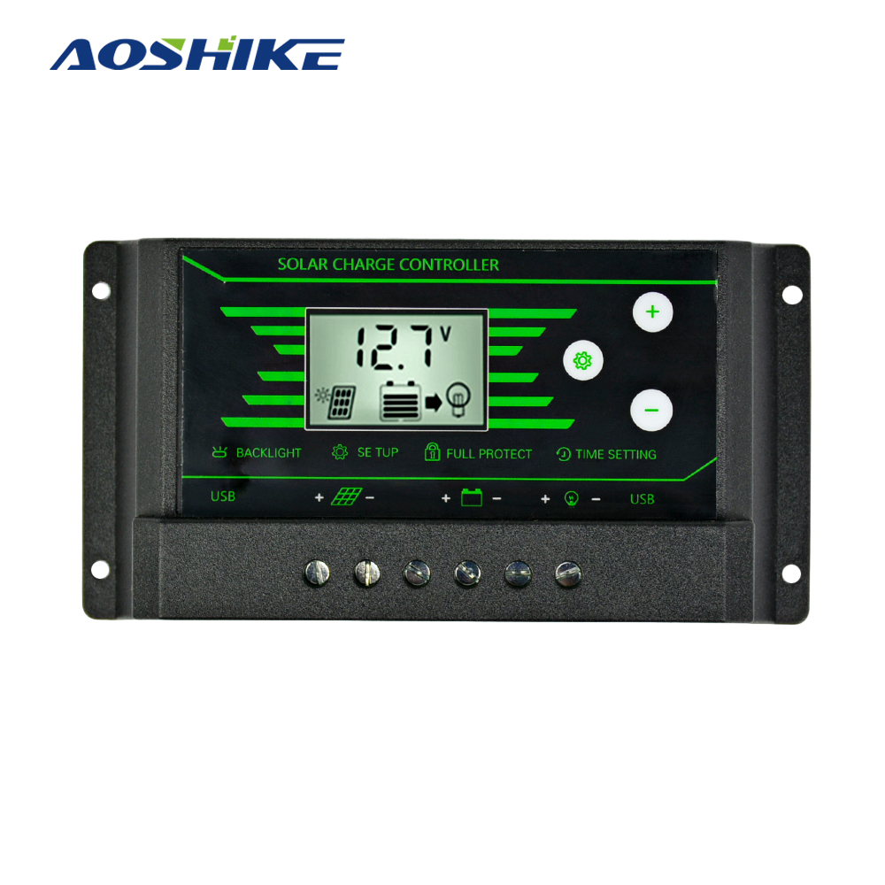 Aoshike 12V 24V PWM Solar Controller Backlight LCD Solar Charge Controller with Dual USB 5V New Design 10A 20A 30A Solar Energy