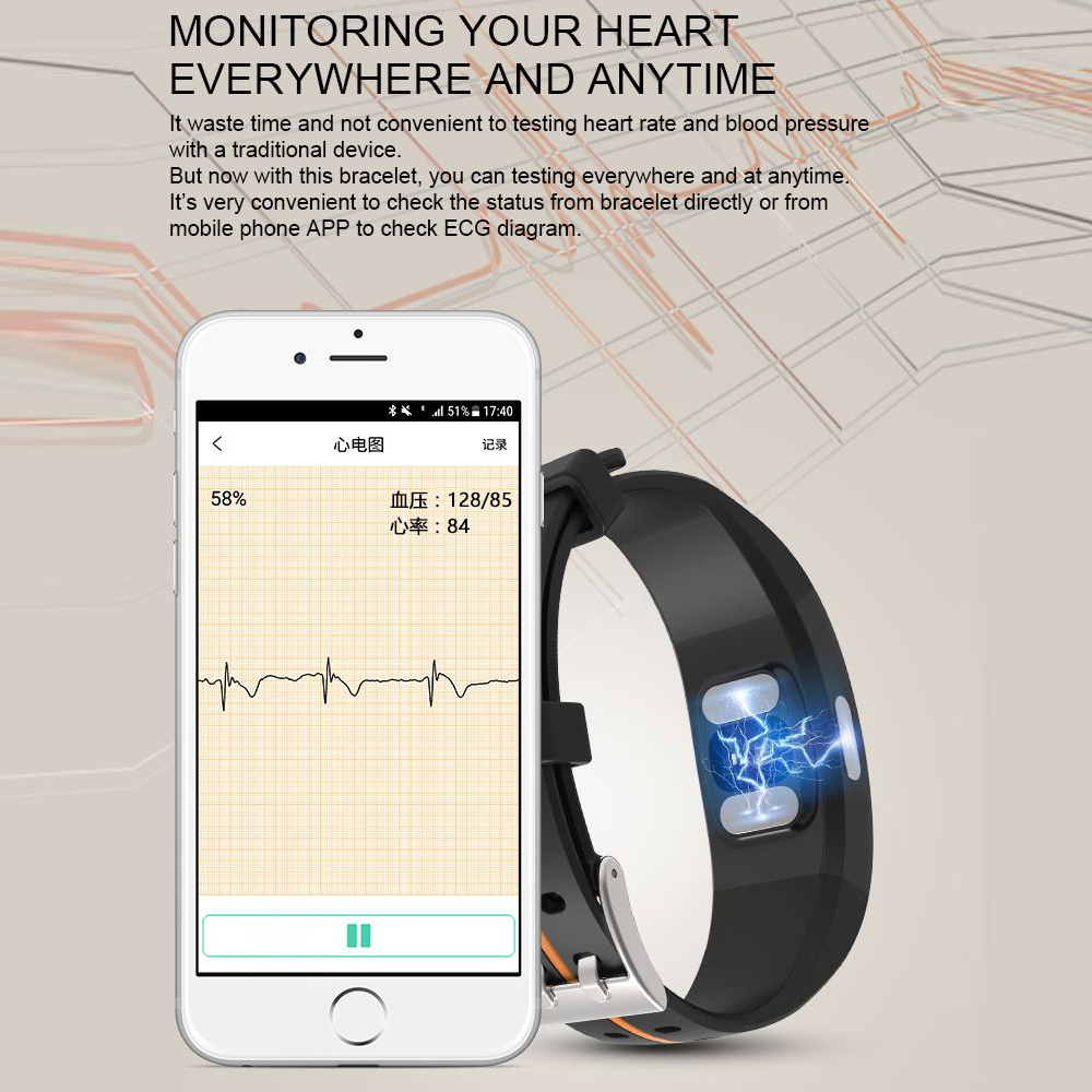 Hangrui P3 Heart Rate Tracker PPG ECG Smart Bracelet Blood Pressure Fitness Tracker Wristband Waterproof Sport Watch Wrist band (48)