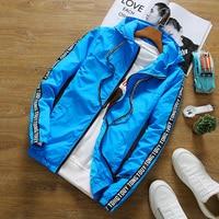 Chaqueta de los hombres del verano protector solar con capucha Chaquetas cazadora moda hip hop marca ropa mujeres hombres Veste Homme más el tamaño s-3xl