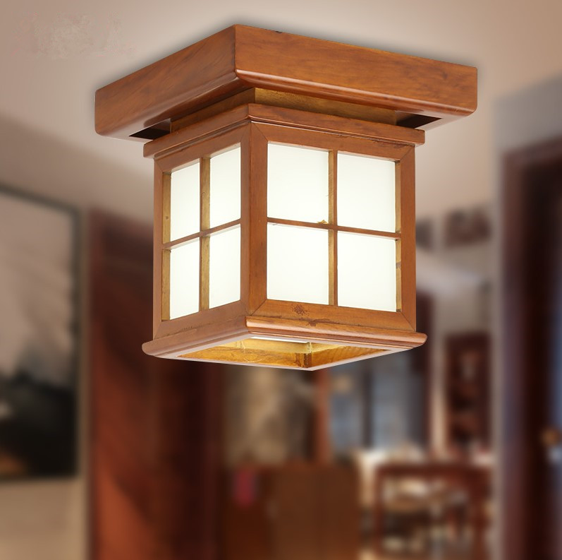 Chinese style antique wood art ceiling lights Rural brief white/yellow E27 Led lamp for porch&stairs&pavilion&tearoom MYR058
