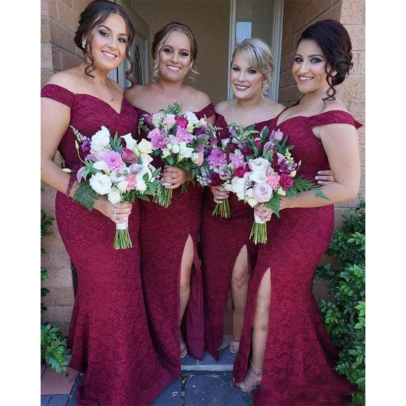 Burgundy Lace Mermaid Bridesmaid Dresses Off-Shoulder Capped Sleeves Full Appliques Side Split Wedding Party Dresses