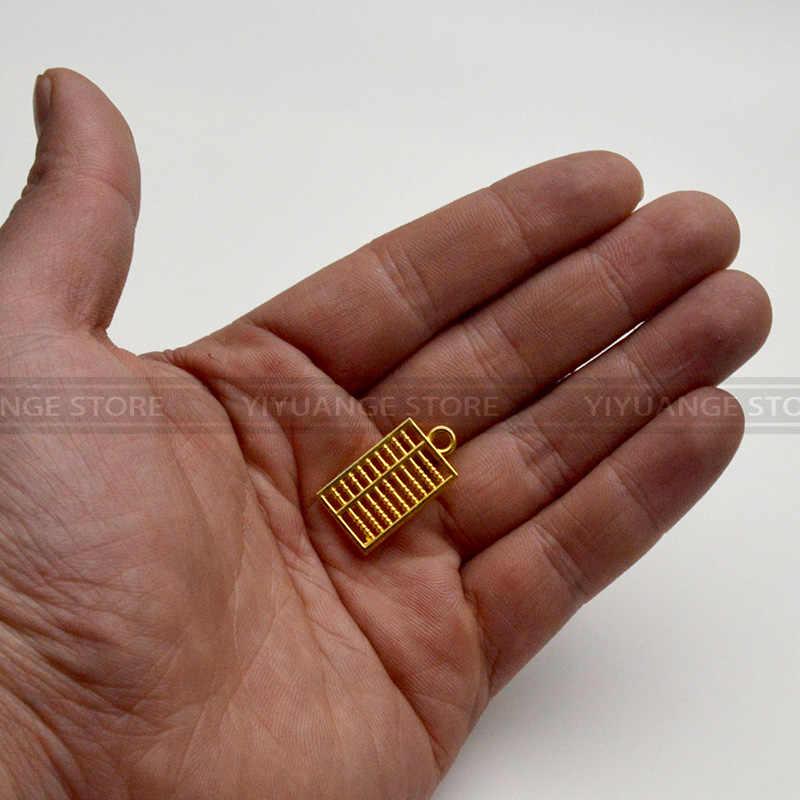 Cinese Fengshui Abaco D'oro Da Tasca Abacus Bead Arithmetics Metallo Keychain Aotomotive Portachiavi Anello Chiave Fob