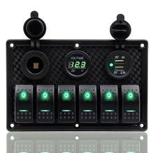 6 Gang Control Switch Panel 12-24V ABS Waterproof RV Boat Marine Green LED Rocker Circuit Breaker