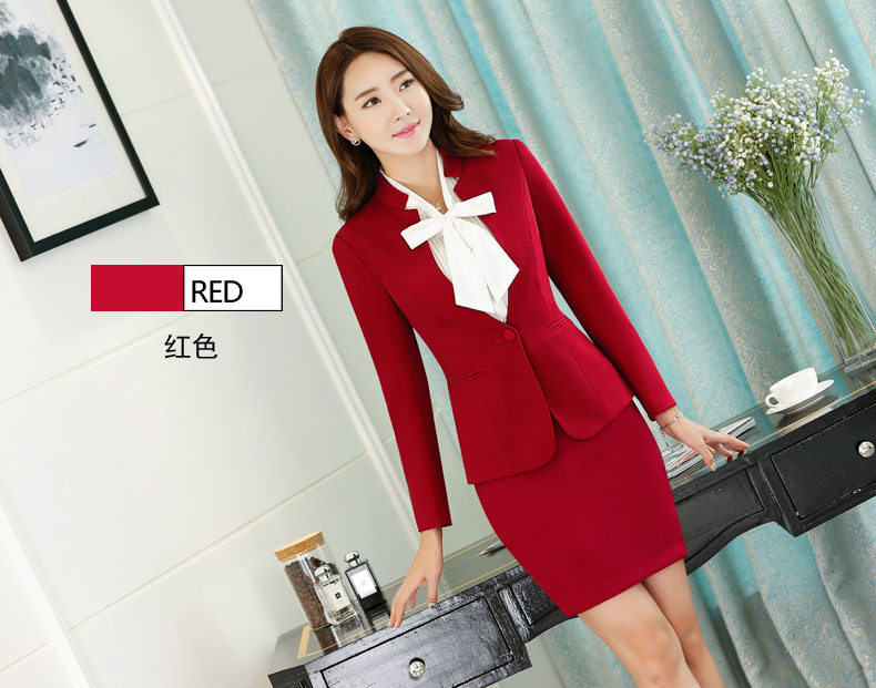 Nouveauté rouge mince de mode formelle jupe costumes pour dames de