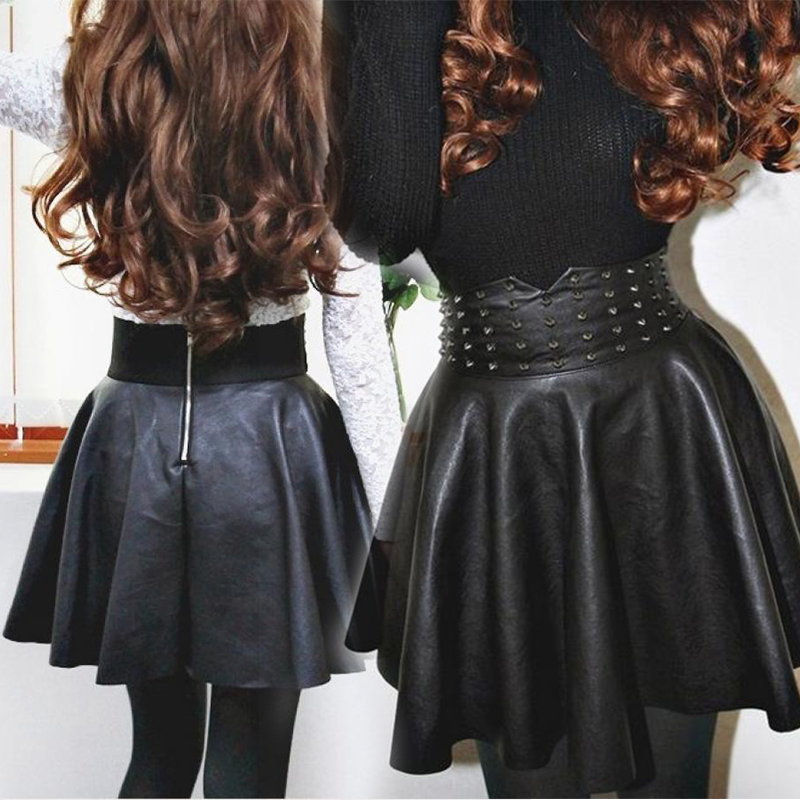 Black slim Faux Leather Mini Skirt Women Fashion High Waist Zipper In Back Steampunk Rock Sexy Pleated Short Skirt