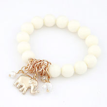 LEMOER Hot Fashion Black Candy Color Beads Bracelet Elephant Pendant Charm Stretch Bracelets Bangles For Women Jewelry Pulseira(China)