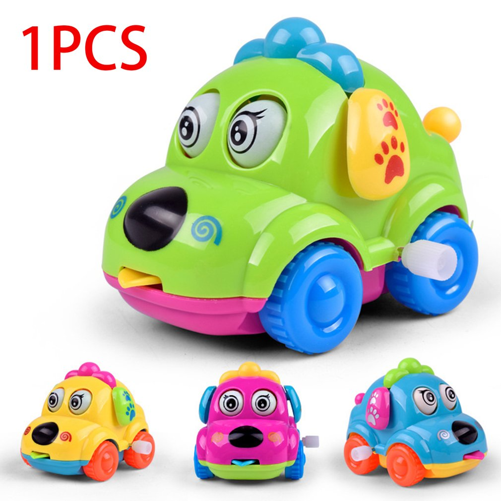 Baby Kids Clockwork Funny Toy Cartoon Puppy Running Car Clockwork Classic Toy Baby Educational Animal Dog Toy Car Drop Shipping