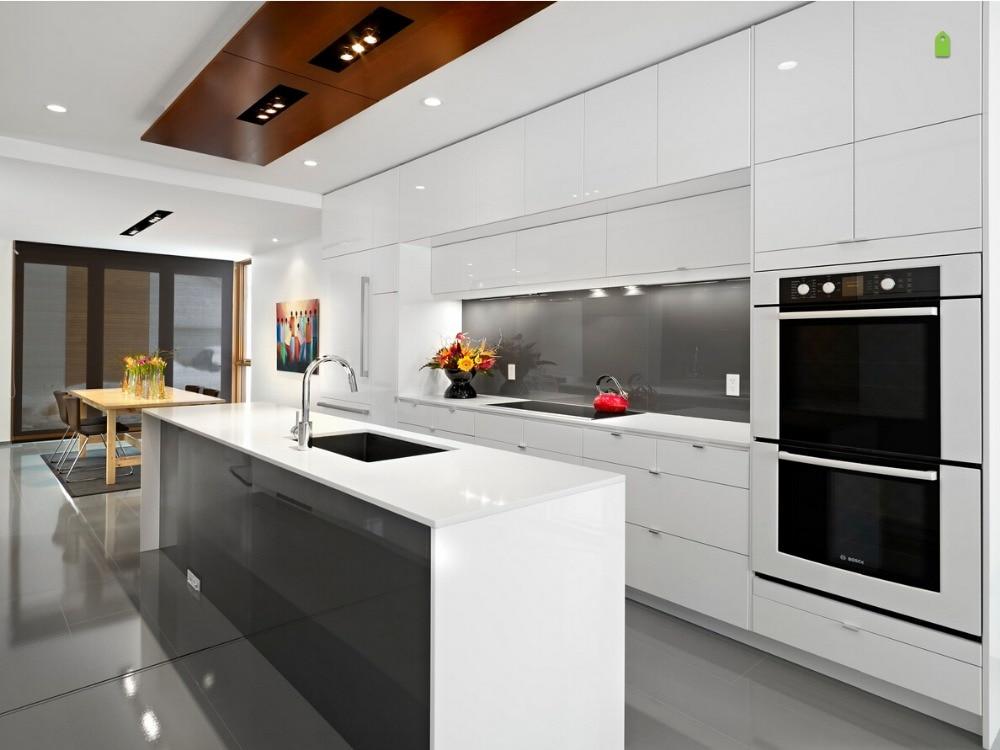 2017 muebles de cocina proveedores de China muebles de cocina blancos de alto brillo pintura en aerosol unidad de cocina mudular de alto brillo