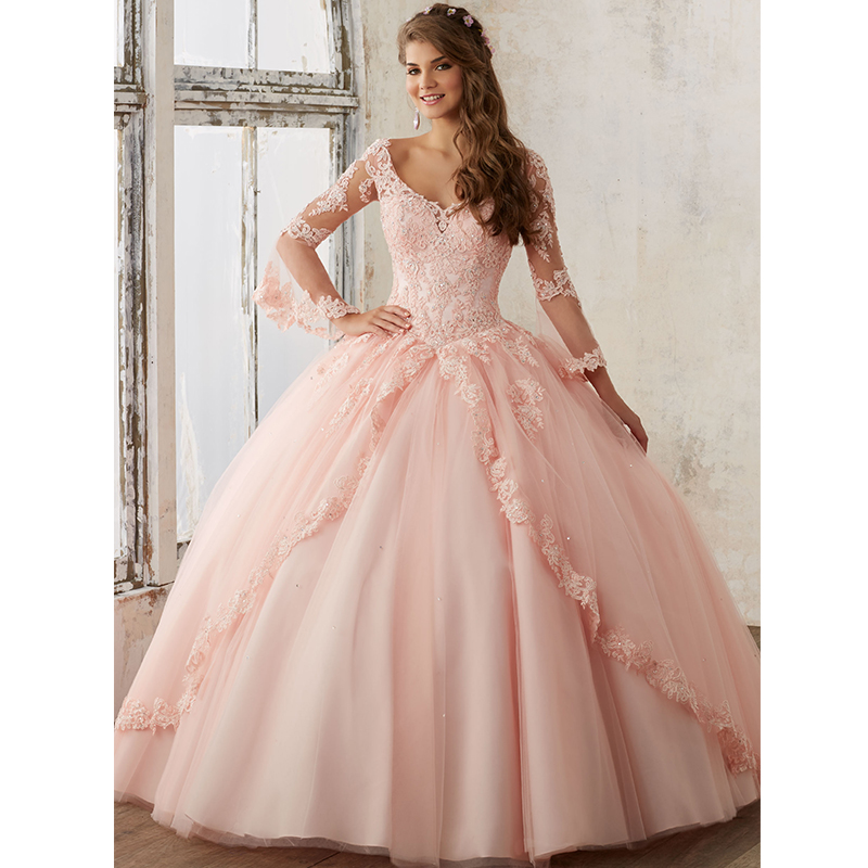 Beaded Lace on a Princess Tulle Quinceanera Ball Gown Fashion Full Length  Sleeves Quinceanera Dresses Pink Vestidos De 15-in Quinceanera Dresses from  ... d1c534c33d16