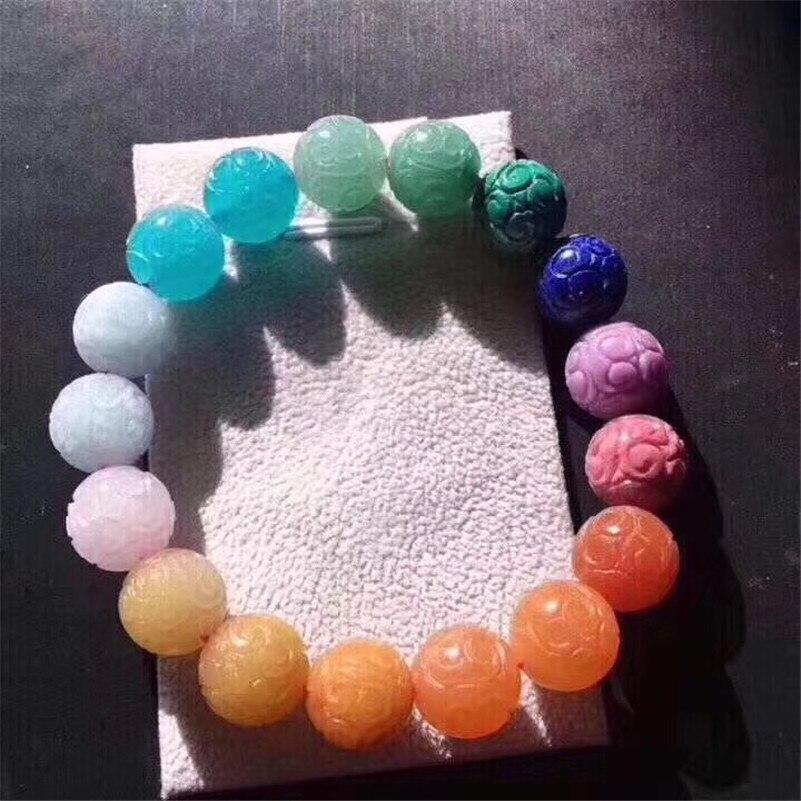 12mm Natural Rainbow Different Mixed Loop Stone Malachite Lapis Amazonite Rose Quartz Lapis Beads Bracelet jewelry Certificate