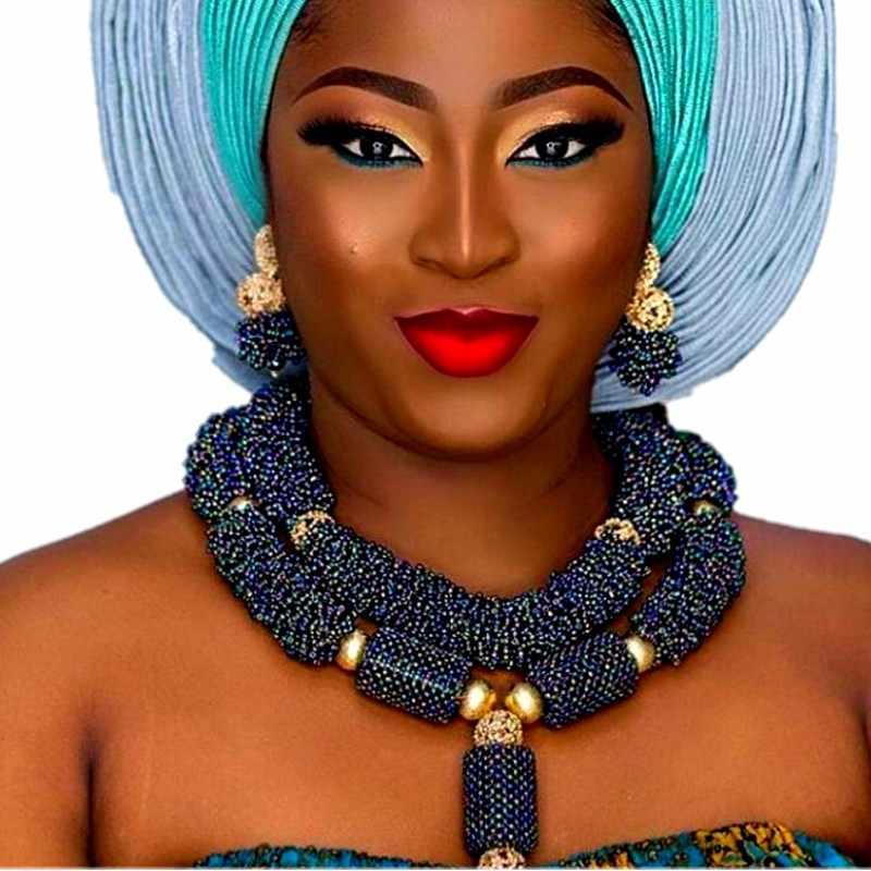 יוקרה אפריקאי כלה תכשיטי סטי תלבושות קולר כהה כחול קובע לנשים משלוח חינם 2018 ניגרית תכשיטים