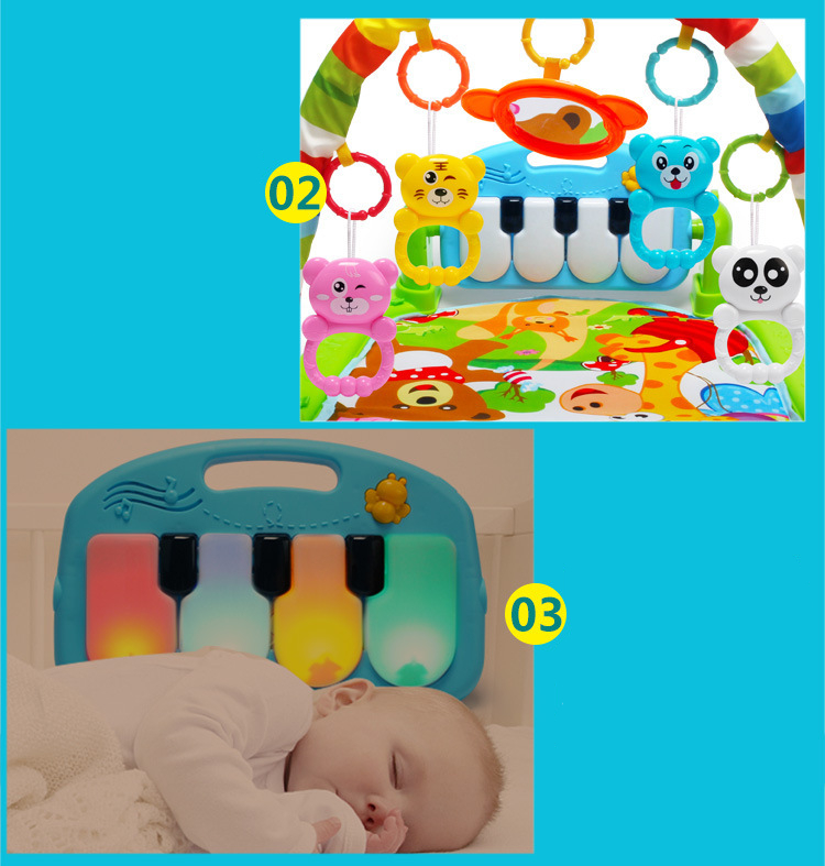 HTB1wQtrd1OSBuNjy0Fdq6zDnVXay 3 in 1 Baby Play Mat Rug Toys Kid Crawling Music Play Game Developing Mat with Piano Keyboard Infant Carpet Education Rack Toy