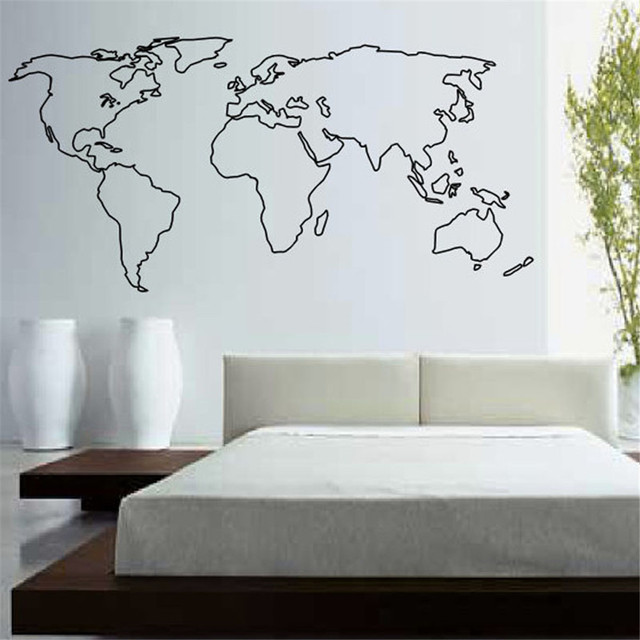buckoo hot wall stickers large world map wall sticker home decor living room removable map outline
