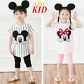Summer Kids Clothes Cartoon Mickey Clothing Sets Vetement Enfant Fille Minnie Costume For Kids Stripes Shirt + Pants KD268